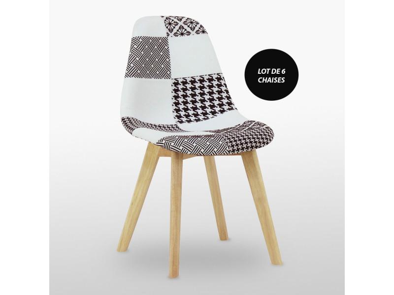 lot de 6 chaises scandinaves en tissu patchwork noir blanc