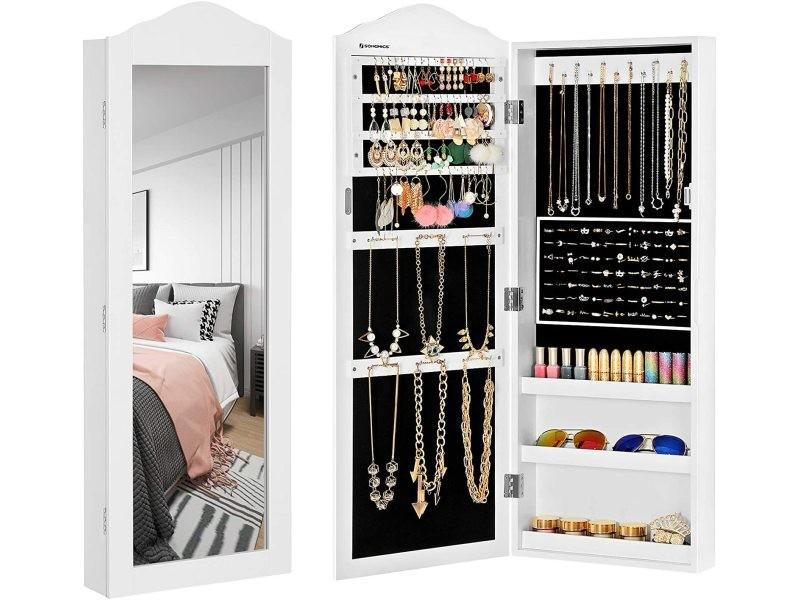 armoire a bijoux armoire murale rangement blanc jbc83w songmics