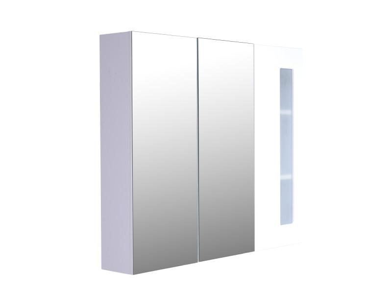 Armoire Avec Miroir En Bois Rangement Salle De Bain