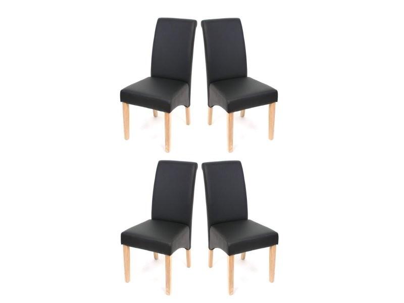 set de 4 chaises de salle a manger en simili cuir noir mat pieds clairs cds04123