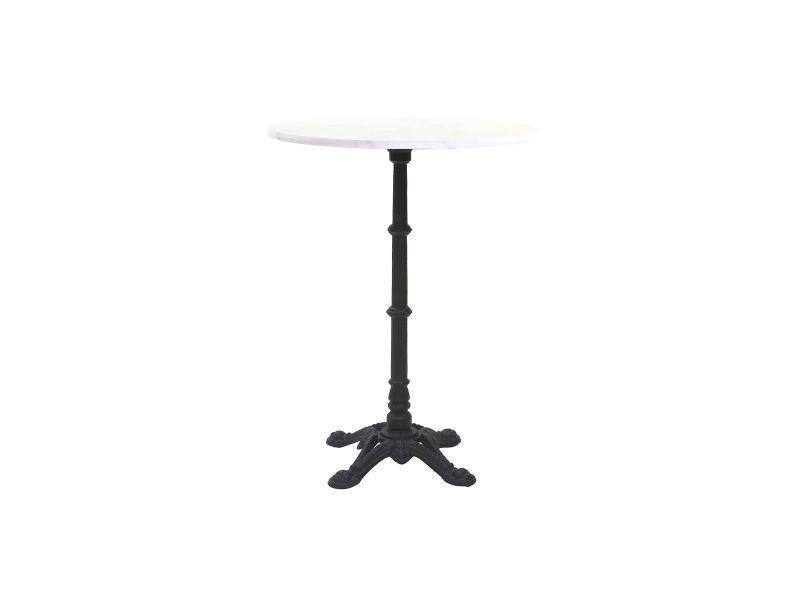 table bistrot haute ronde en marbre et metal conty