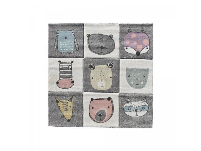 tapis enfant 140x140 carre cm carre zoo too gris chambre adapte au chauffage par le sol
