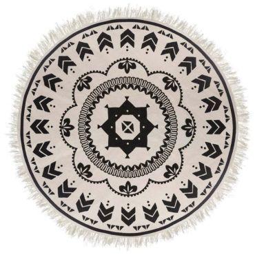 tapis rond deco agadir 120cm noir