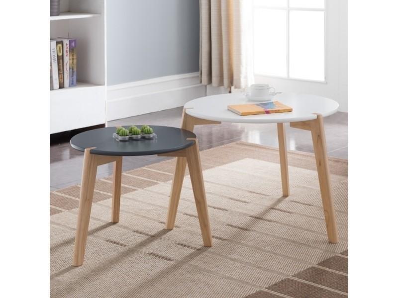 ensemble de tables basses gigognes glada blanc et noir ronde style scandinave style minimaliste vente de table basse conforama