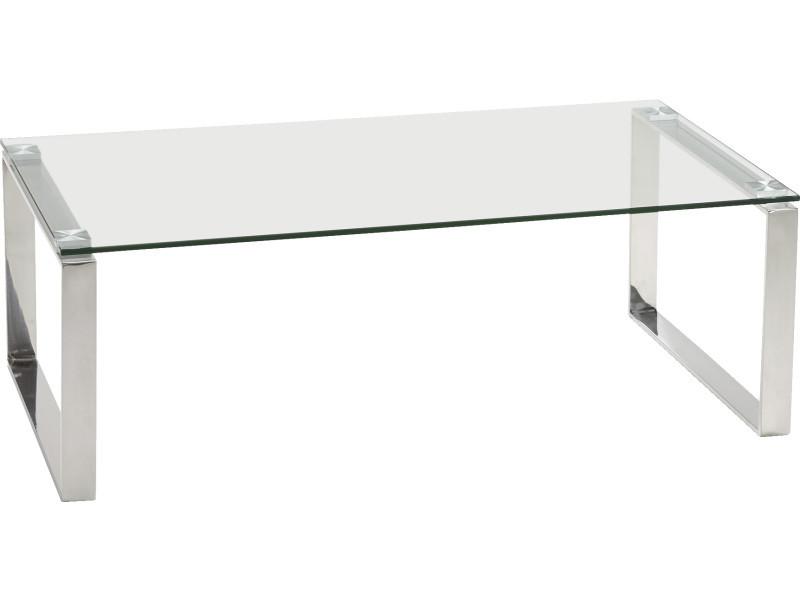 table basse en verre transparent et acier 60 x 110 x 38 cm pegane