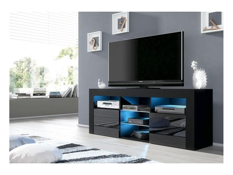 meuble tv jive noir a led 145 cm avec 2 portes laquees