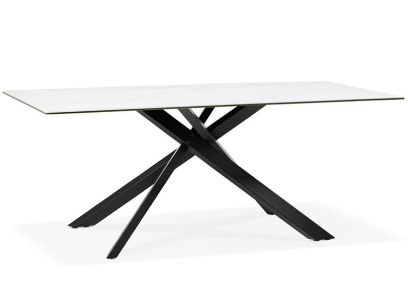 table a manger design en metal et ceramique imitation marbre blanc 90 x 180 x 76 5 cm pegane