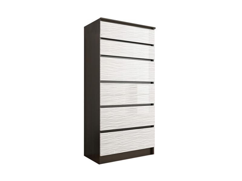 sofia 2w commode contemporaine chambre salon bureau 128x70x40 dressing 6 tiroirs meuble de rangement scandinave wenge blanc