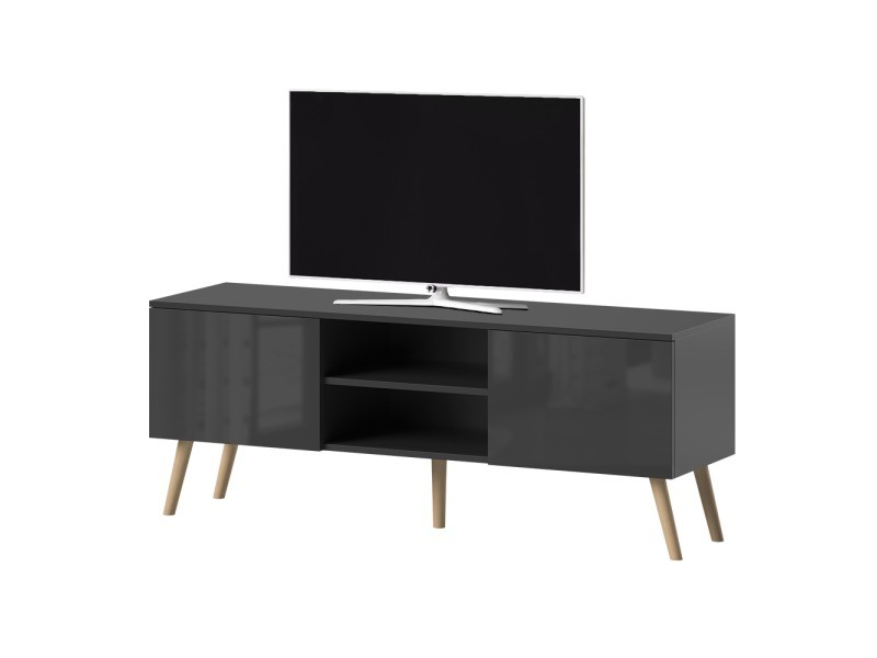 meuble tv meuble salon verozia lignnum 140 cm noir mat noir brillant style scandinave pieds de hetre huile
