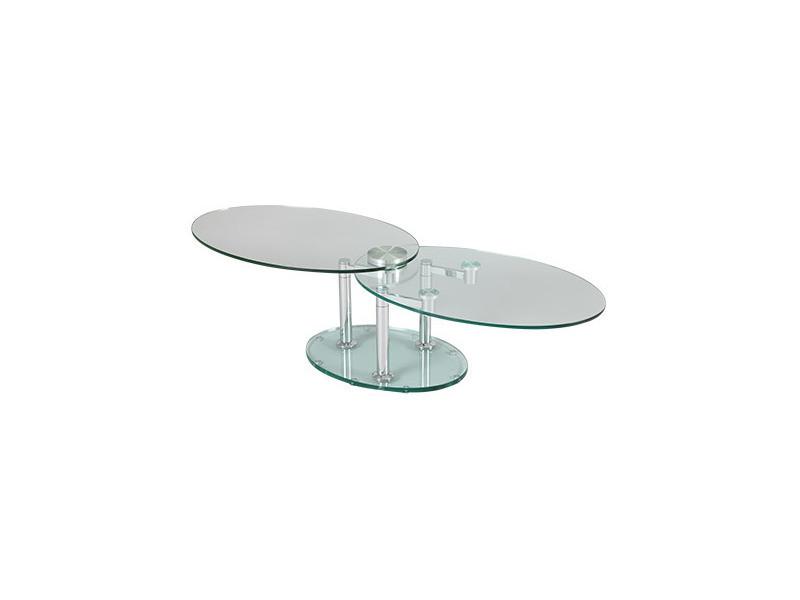 table basse 2 plateaux ovales en verre trempe transparent glass