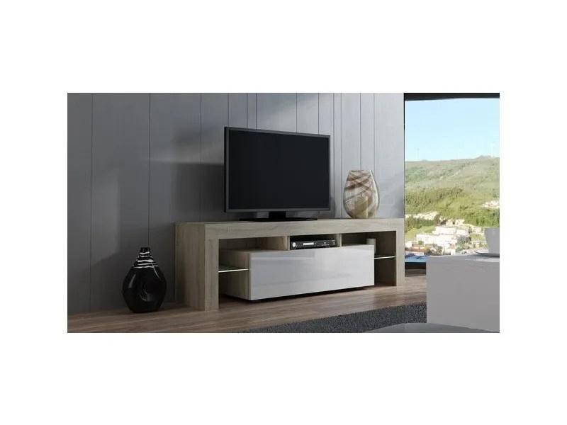 meuble tv spider a led en chene mat avec porte blanc laque 160 cm