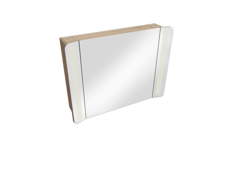 Armoire De Toilette Frene Miroir Eclairage Led L80 Tiga Vente De Mob In Conforama