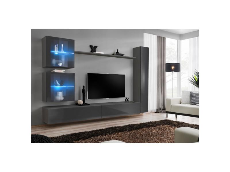 ensemble mural switch xviii 2 vitrines led 1 vitrine verticale 2 bancs tv 1 etagere graphite