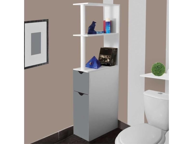 Meuble Wc Etagere Bois Gain De Place Pour Toilette 2 Portes Grises Vente De Id Market Conforama