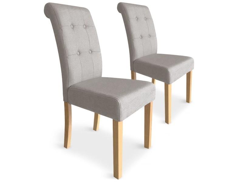 lot de 2 chaises adam tissu beige
