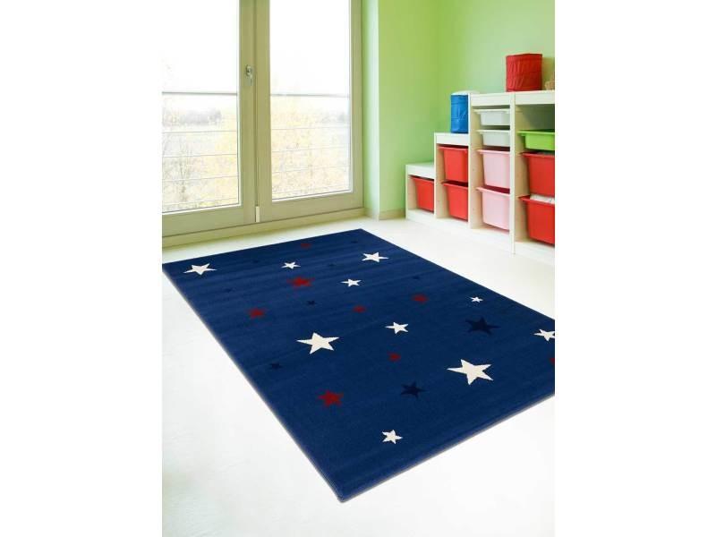 tapis pour enfant af nightsky bleu ecru noir rouge 80 x 150 cm