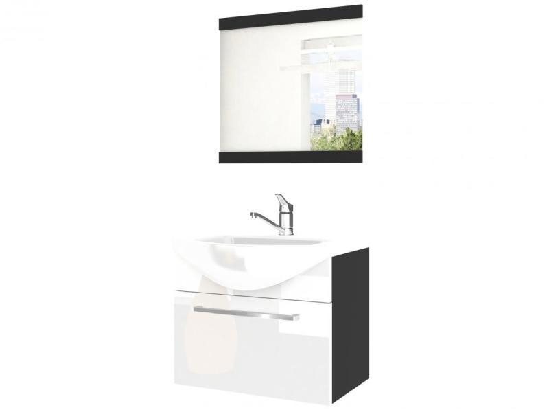 Anizal Ensemble Meubles Salle De Bain 3 Pcs 50 Cm Miroir Lavabo Meuble Sous Lavabo Lavabo Ceramique Blanc Noir Vente De Hucoco Conforama
