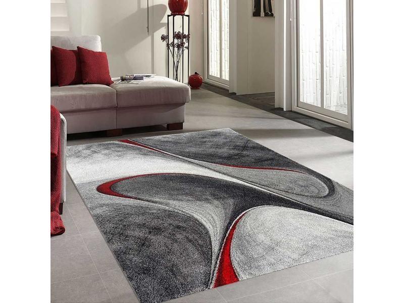 tapis design et moderne 200x200 cm rond madila rouge salon adapte au chauffage par le sol