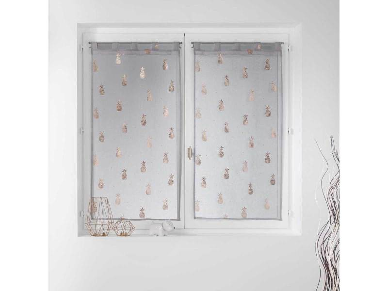 paire vitrages droits sables et imprimes en or rose 2 x 60 x 120 cm
