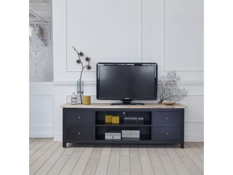 meuble tv en bois d acajou et teck 4 tiroirs