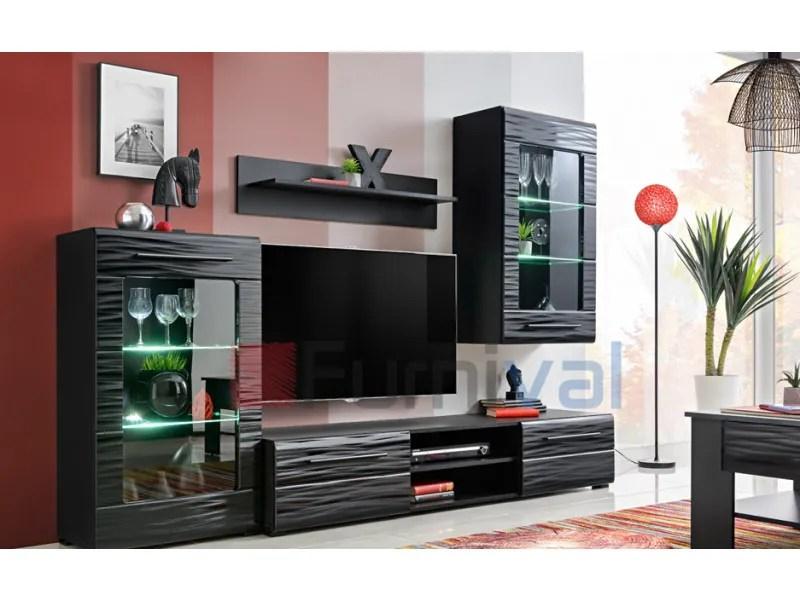rigs unite murale style contemporain 4 pcs eclairage led inclus mur tv ensembles meubles salon sejour meuble bas tv noir