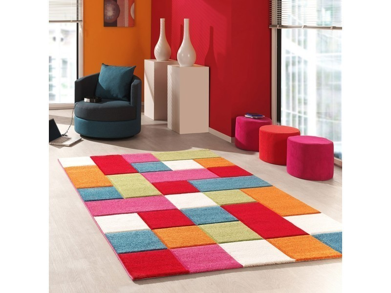 tapis multicolore carreaux orange bleu rouge vert 60 x 110 cm
