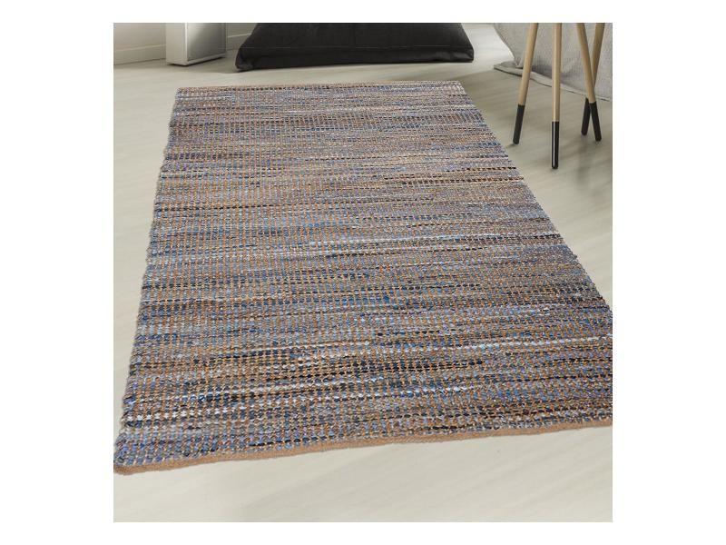tapis kilim 120x170 cm rectangulaire denim jute et coton bleu salon tisse a la main jute