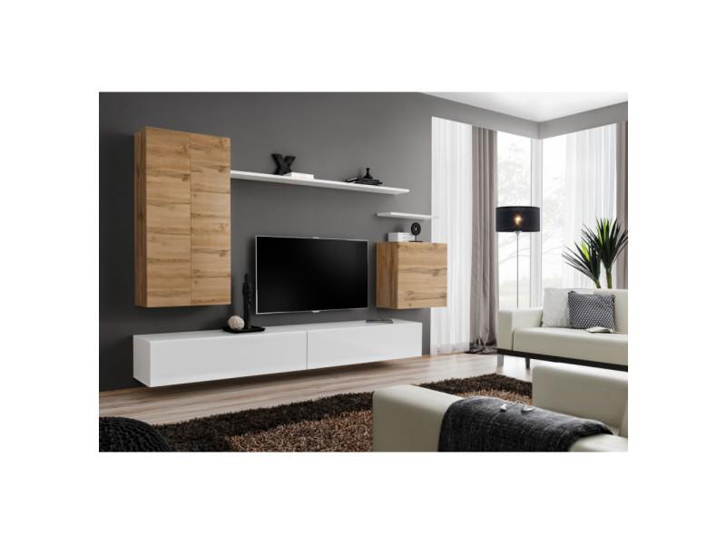 ensemble mural switch ii 1 vitrine led 1 banc tv 1 etagere murale bois et blanc modele 1