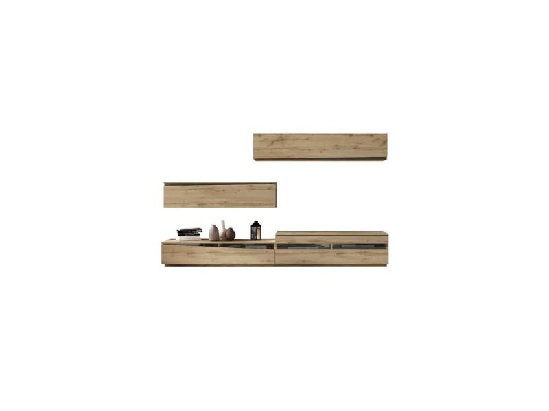 composition meuble tv chene blond bois noir camelia l 300 x l 45 x h 180 neuf