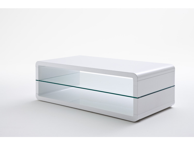 table basse avec etagere verre laque blanc brillant l120 x h41 x p60 cm pegane