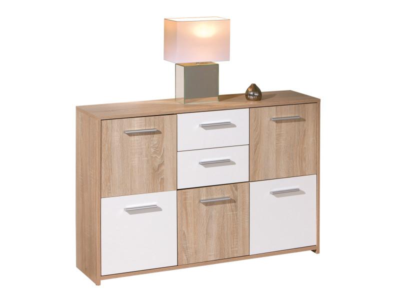 commode buffet bahut meuble de rangement bureau cuisine salon sejour chene blanc