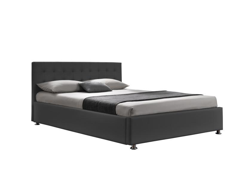diva ii lit coffre 140x190 cm pu gris soit en ouverture frontale classique ou en ouverture laterale avec tete de lit
