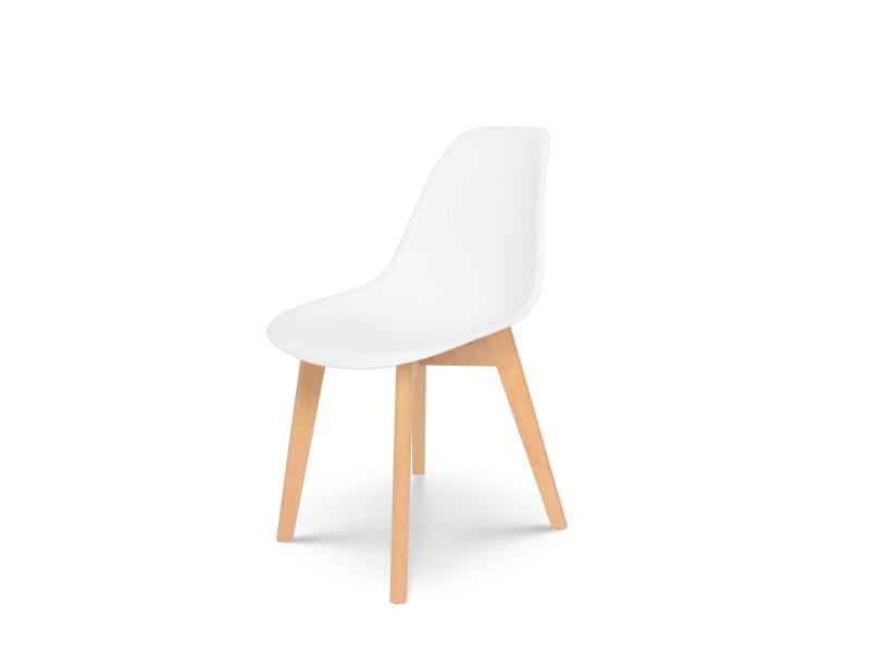 kosmi chaise blanche style scandinave modele tulip avec coque en resine blanche et pieds en bois naturel