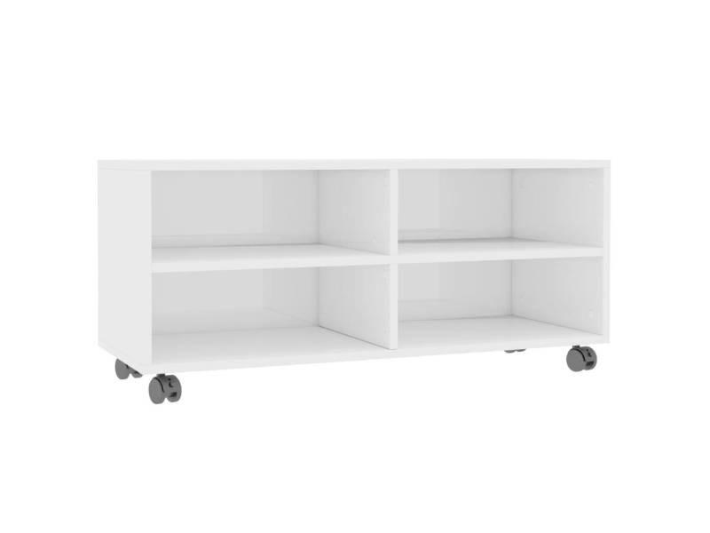 icaverne meubles tv famille meuble tv avec roulettes blanc brillant 90x35x35 cm agglomere