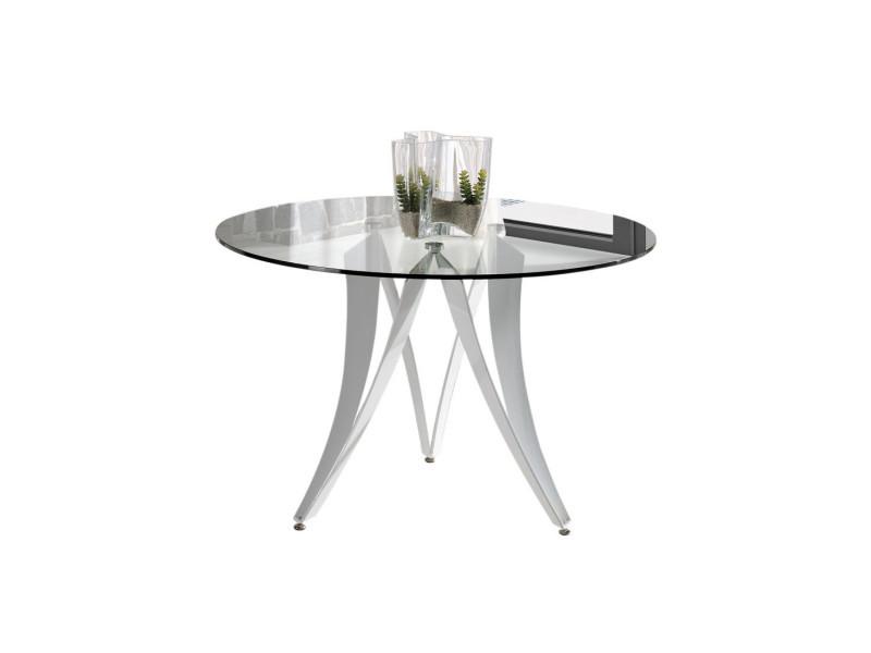 table de repas ronde verre akno l 120 x l 120 x h 77 neuf