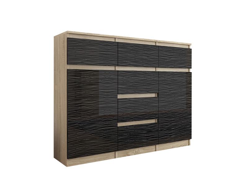 monaco s2 commode contemporaine meuble rangement chambre 120x40x98 6 tiroirs 2 portes finition gloss buffet salon sonoma noir
