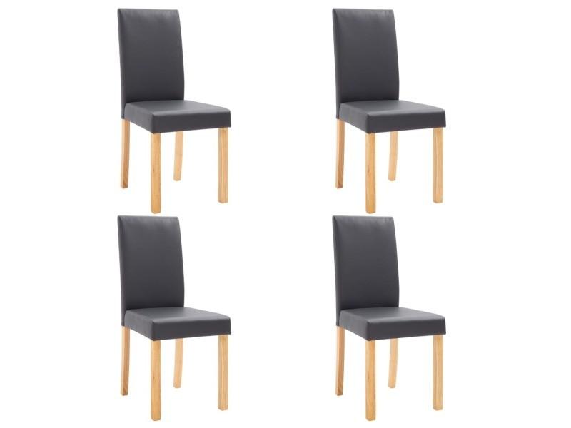 icaverne chaises de cuisine categorie 4 pcs chaises de salle a manger gris similicuir