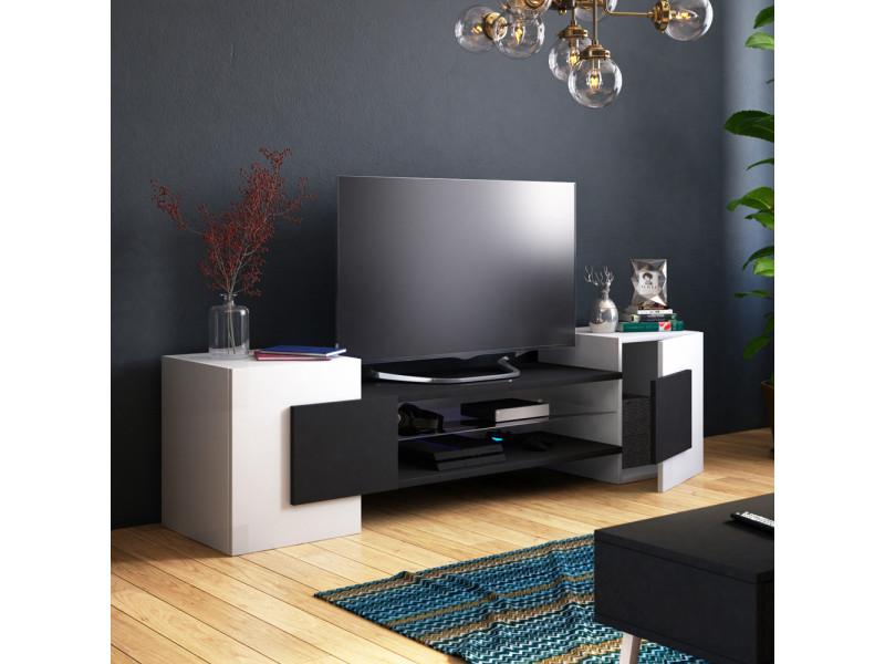 meuble tv meuble de salon gaelin 160 cm blanc mat noir mat sans led style contemporain