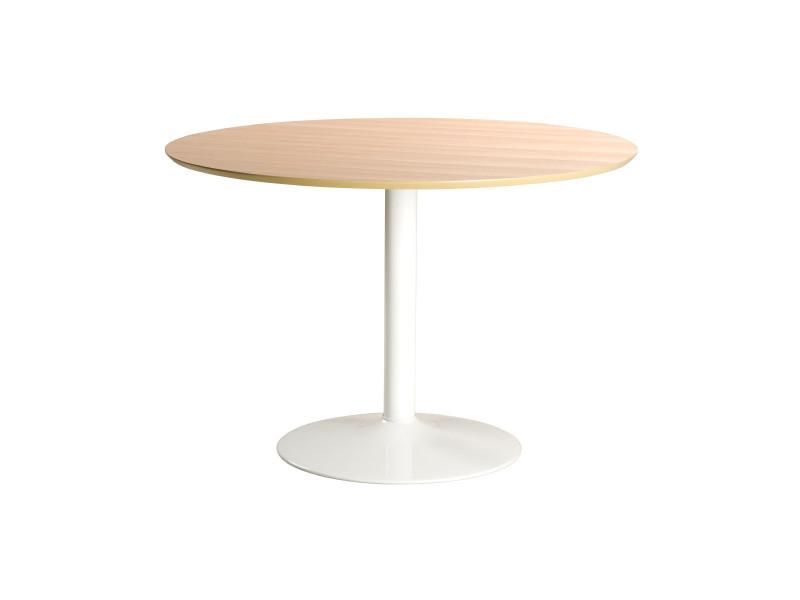 table a manger ronde bois clair et metal blanc d110 cm kali
