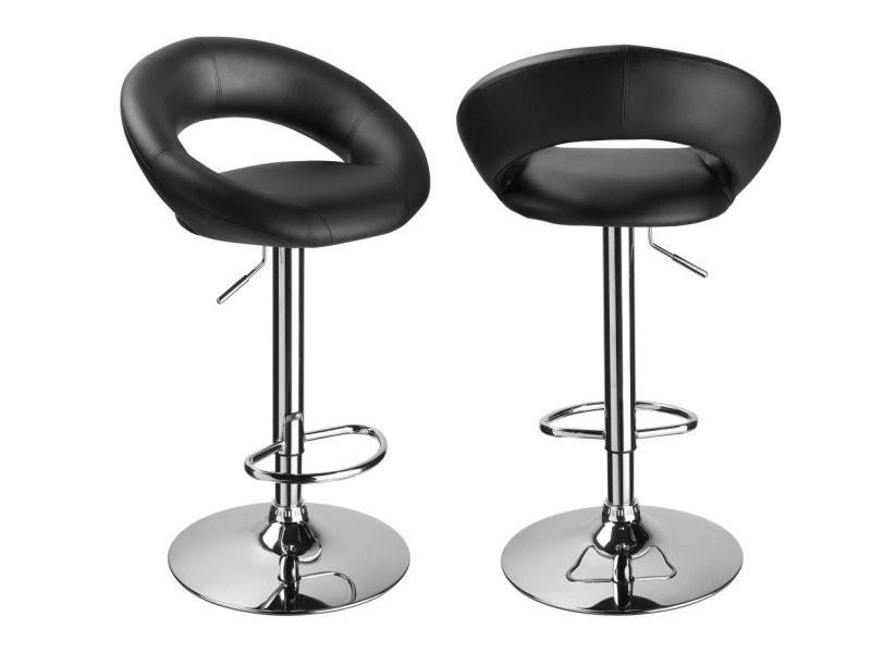 set de 2 tabourets de bar simili cuir noir hauteur reglable tdb09091