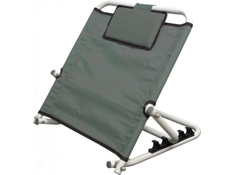 dossier de lit biriling gris aidapt reglable avec coussin de tete
