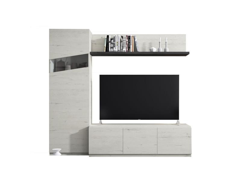 composition meuble tv bois blanchi bois noir camelia n 3 l 210 x l 45 x h 185 neuf