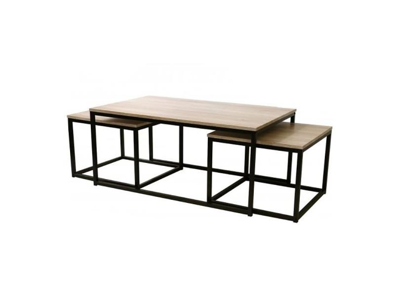 table basse ensemble 3 pieces loft