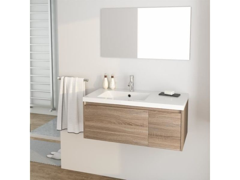 Girona Ensemble Meubles De Salle De Bain Simple Vasque Miroir L 90 Cm Decor Sonoma X5p1somoak Vente De Divers Conforama