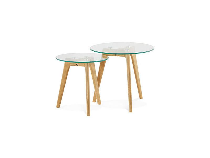 lot de 2 tables gigognes rondes en verre et bois naturel baltic