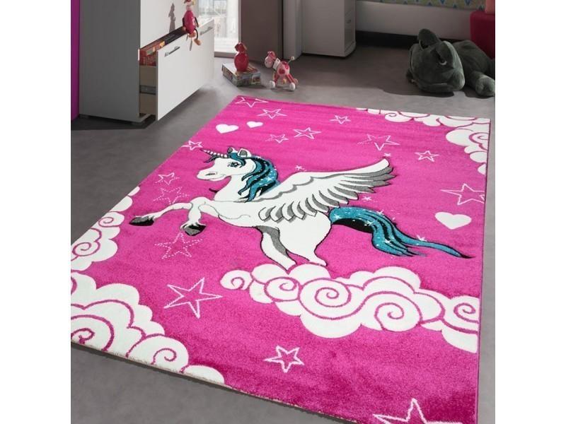 tapis feerique pour chambre de fille licorne volante rose blanc 80 x 150 cm