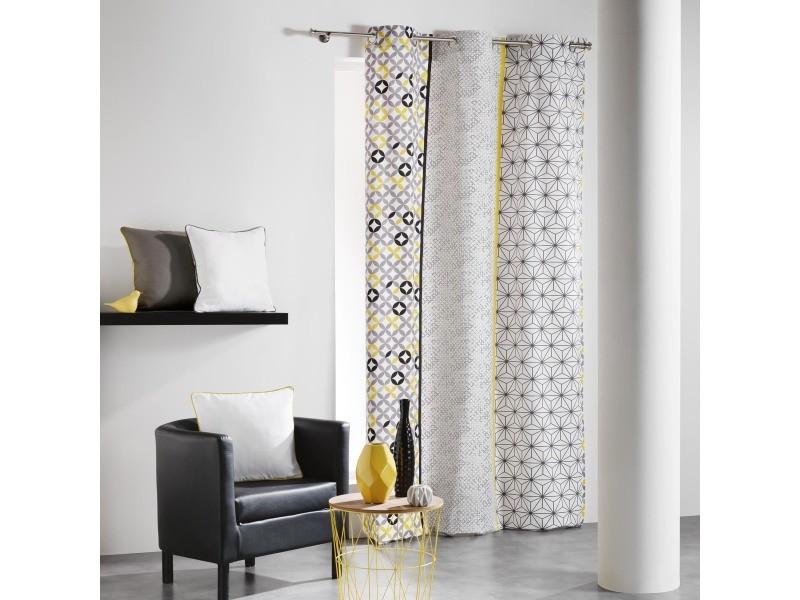 rideau en coton a rayures verticales graphiques 140 x 240 cm 1606046 gris jaune