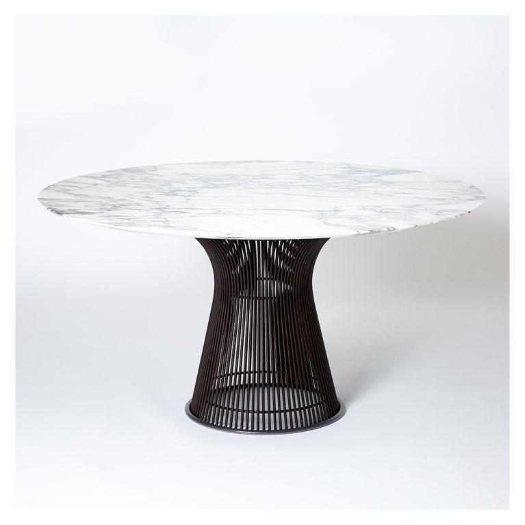 platner high table metallic bronze arabescato marble