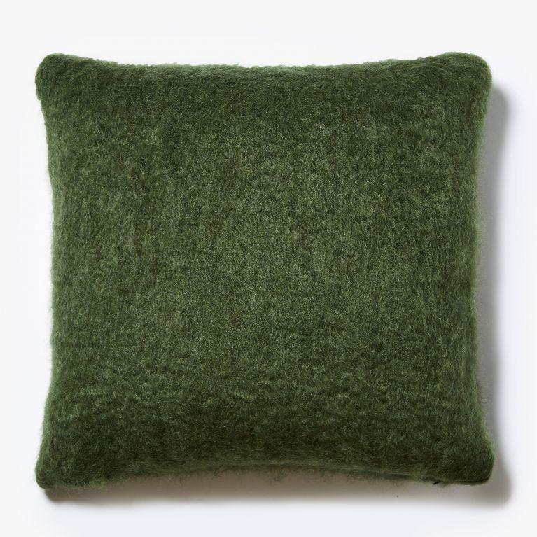 mohair cushion cover in green 50cm x 50cm