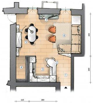 cucina, corridoio, soggiorno, ca.', questo è il lavoro numero 314163 su instapro. Cucina A Vista E Soggiorno Insieme Progetto In Pianta Cose Di Casa